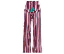 Ipanema Tasseled Striped Silk Wide-leg Pants Purple