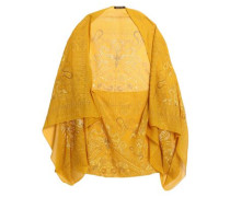 Printed silk-chiffon cape