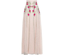 Embroidered Cotton-blend Lace Maxi Skirt Cream