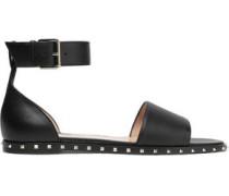 Rockstud Leather Sandals Black