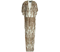 Sequined Crepe De Chine Gown Green