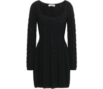 Crystal-embellished Cable-knit Mini Dress Black