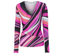 Wrap-effect printed stretch-jersey top