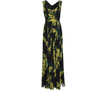 Wrap-effect floral-print silk-chiffon gown