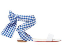 Woman Bow-detailed Gingham Woven And Leather Sandals White