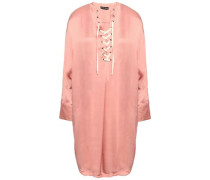 Lea Lace-up Satin Nightshirt Antique Rose