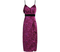 Ruffled floral-print silk-satin dress