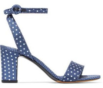 Leticia Polka-dot Twill Sandals Navy