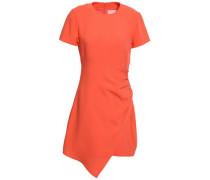 Ruched Crepe Mini Dress Bright Orange