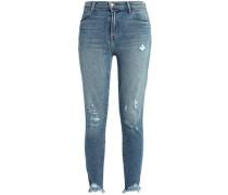 Distressed Faded Mid-rise Skinny Jeans Light Denim