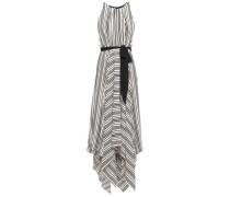 Asymmetric Cutout Striped Crepe Maxi Dress Cream Size 0