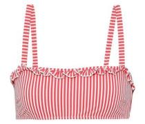 The Leslie Striped Seersucker Bikini Top Red