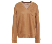 Woman Bead-embellished Mélange Linen And Silk-blend Sweater Camel