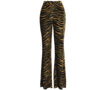 Zebra-print velvet flared pants