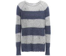 Distressed Striped Cashmere And Silk-blend Sweater Gray
