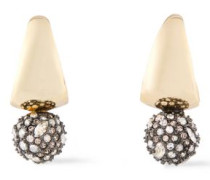 Woman Gunmetal And Gold-tone Crystal Earrings Gold