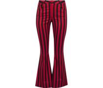Striped duchesse-satin kick-flare pants