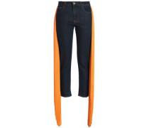 Fringed Mid-rise Slim-leg Jeans Dark Denim