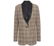 Woman Bead-embellished Satin-trimmed Checked Woven Blazer Light Brown