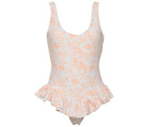 Open-back Ruffled Floral-print Swimsuit White