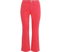 The Kick Cropped High-rise Flared Jeans Coral  5