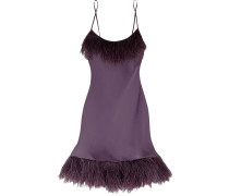 Woman Feather-trimmed Silk Chemise Purple