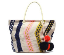 Leather-trimmed pompom-embellished woven tote