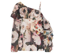 One-shoulder ruffled floral-print chiffon blouse