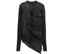 Asymmetric Paneled Knitted Top Black