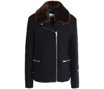 Shearling-trimmed wool-blend felt jacket