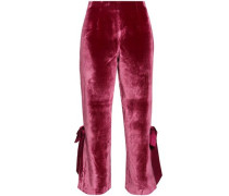 Lou Cropped Bow-embellished Velvet Flared Pants Claret Size 0