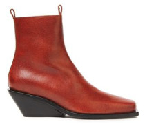 Woman Brushed-leather Wedge Ankle Boots Brick