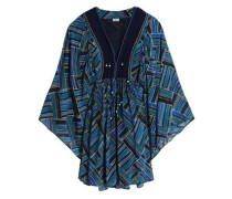 Bead-embellished printed silk mini dress