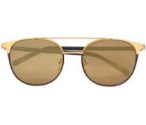 D-frame acetate and gold-tone sunglasses