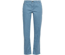 Cropped Mid-rise Straight-leg Jeans Light Blue
