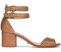 Metallic Woven Leather Sandals Bronze