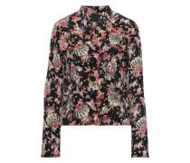 Printed Silk-crepe Jacket Black