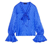 Woman Lauren Pussy-bow Silk-satin Jacquard Blouse Cobalt Blue