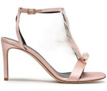 Embellished Satin Sandals Pastel Pink