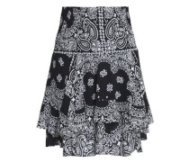 Printed smocked silk-crepe mini skirt