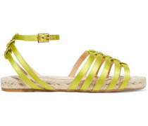 Cutout Silk-satin Espadrille Sandals Lime Green