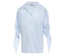 Gathered Cotton Mousseline Shirt Light Blue