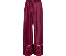 Striped Jacquard Wide-leg Pants Red