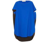Woman Oversized Cape-effect Two-tone Cotton-poplin Top Blue
