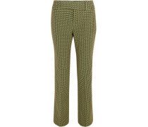 Wool-blend Jacquard Bootcut Pants Chartreuse