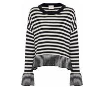 Seren fluted striped wool-blend sweater