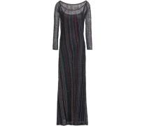 Embellished Crochet-knit Maxi Dress Black