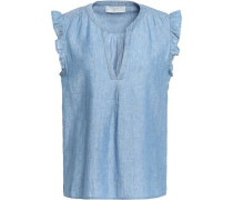 Ruffled linen and cotton-blend chambray top