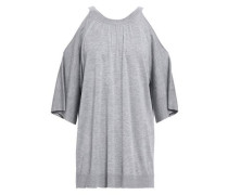 Cold-shoulder Knitted Top Gray
