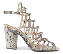 Oberlyn Cutout Snake-effect Leather Sandals Animal Print